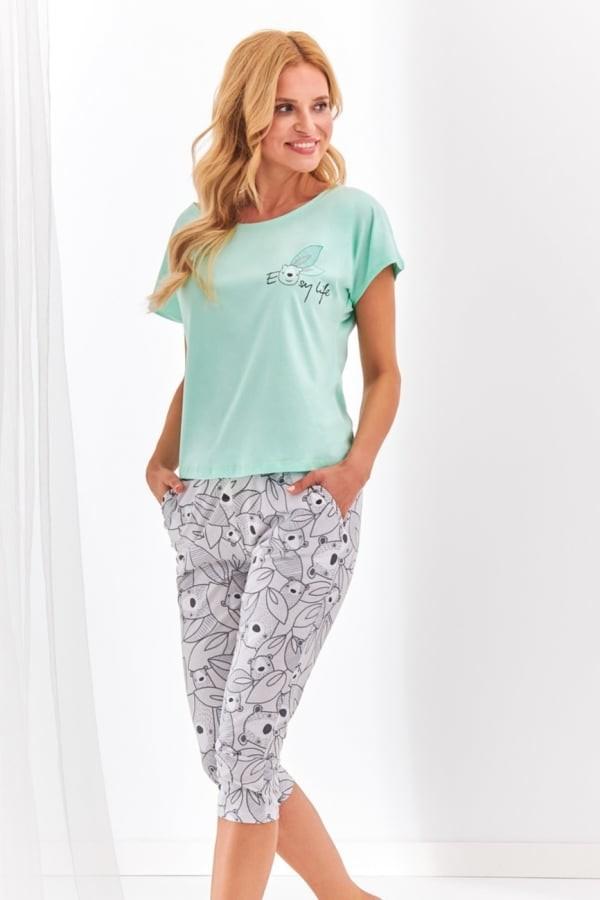 Pijama din bumbac Etna - Verde Mentă Verde Mentă M
