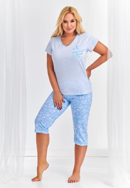 Pijama din bumbac XXL Donata - Albastru Albastru 3XL
