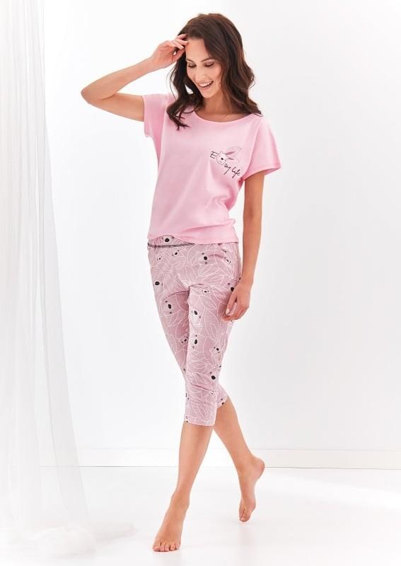 Pijama din bumbac Etna - Roz Roz S