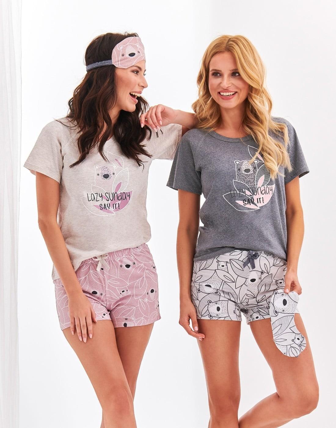 Pijama din bumbac Aurelia - Roz Roz M