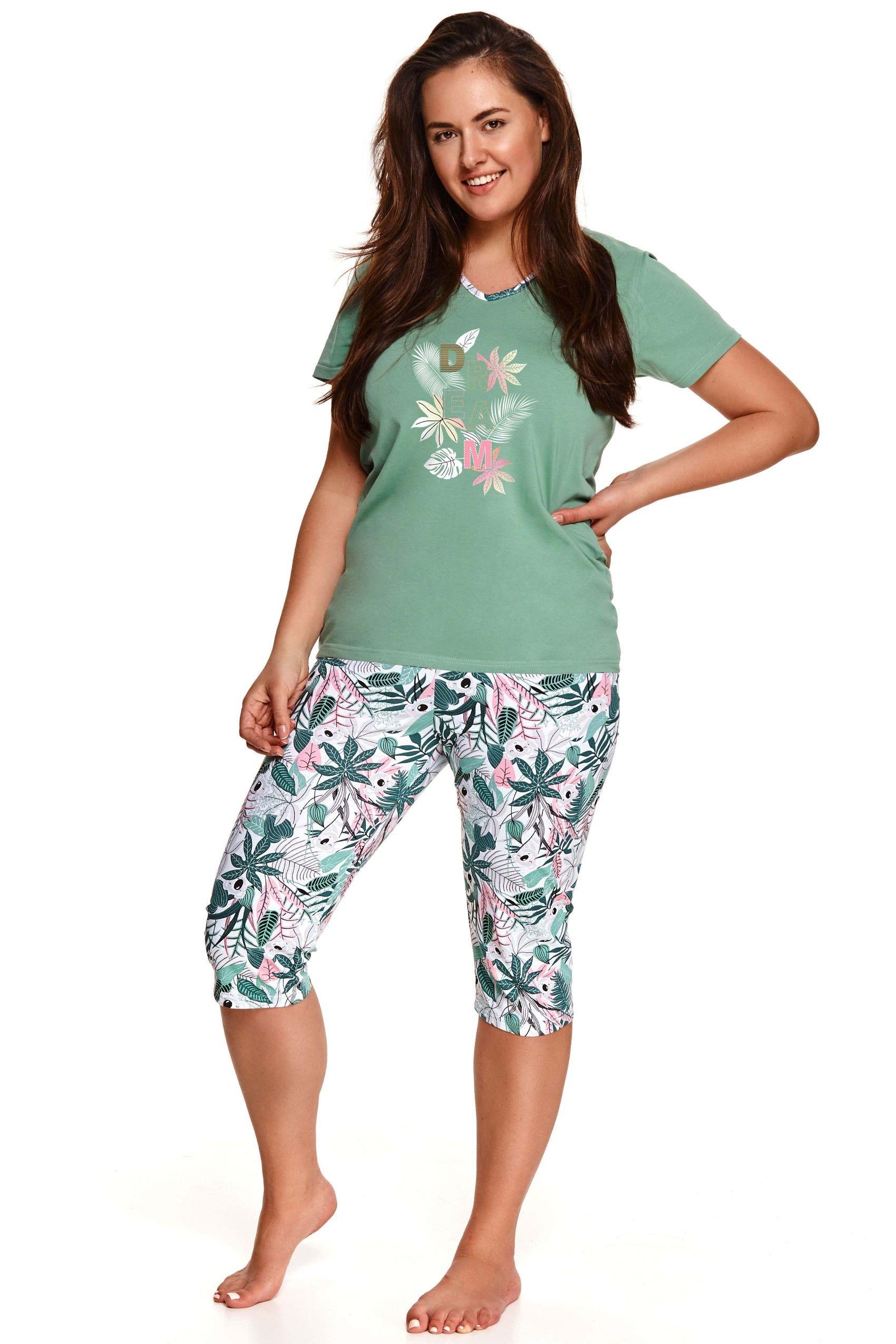 Pijama din bumbac Donata 2186 - 2 - verde XXL