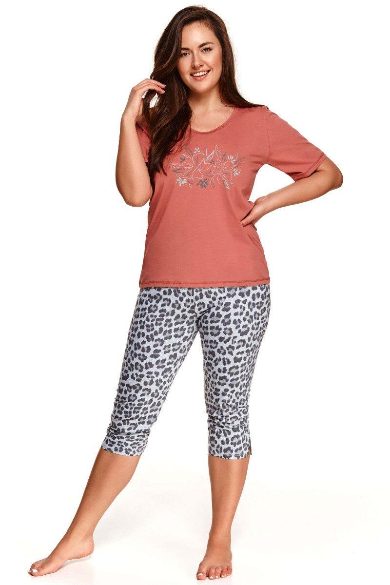 Pijama din bumbac XXL Daria 2511 - 2 - caramiziu/gri 3XL