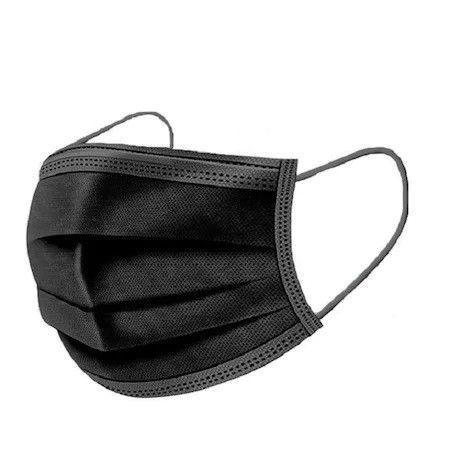 Set 50x Masti Protectie, de Unica Folosinta, 3 pliuri, 3 straturi, cu Clema fixare nas - negru