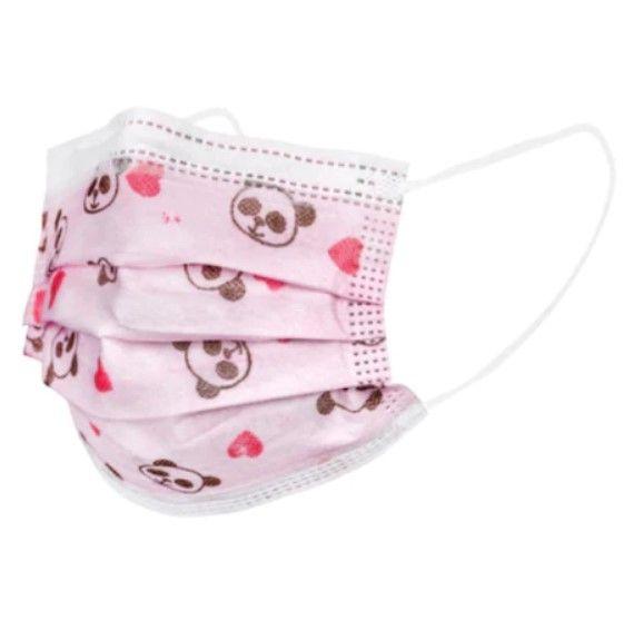 Set 50x Masti Protectie Copii, de Unica Folosinta, 3 pliuri, 3 straturi, cu Clema fixare nas - roz cu desene