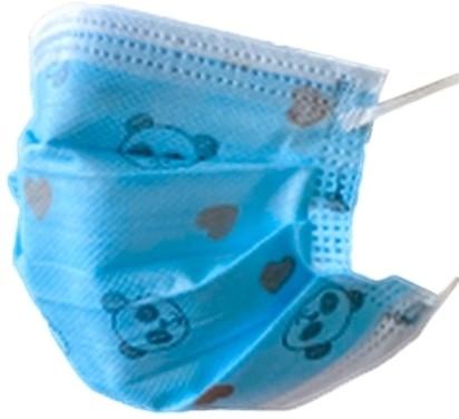Set 50x Masti Protectie Copii, de Unica Folosinta, 3 pliuri, 3 straturi, cu Clema fixare nas - albastru cu desene